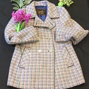 🧥 Women's Coach Tweed Wool Pea Coat M 🧥